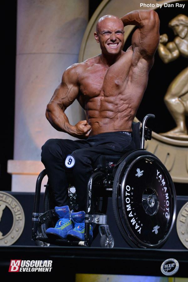 Gabriele Andriulli fue tercero en culturismo en silla de ruedas.